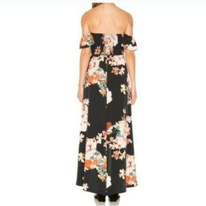 Band of Gypsies Dresses - Band of Gypsies - Floral Maxi Dress Black & Coral